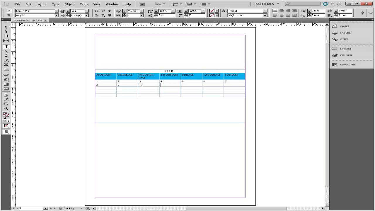 How To Create Calendar In Indesign - Youtube
