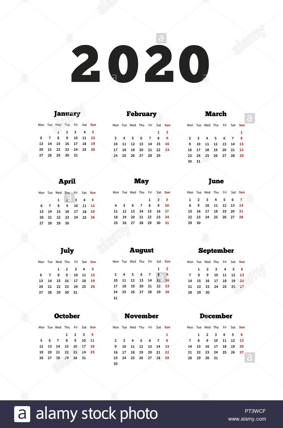 Il Calendario Del 2020 Anno Con La Settimana A Partire Da Lunedì