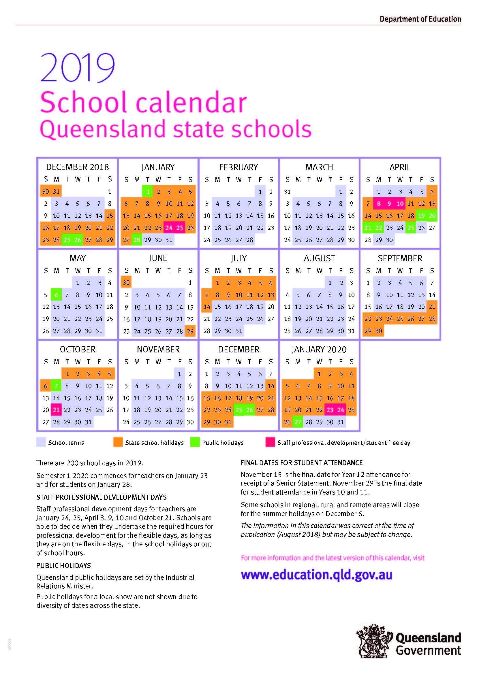 Incredible Calendar 2019 Qld School • Printable Blank Calendar Template