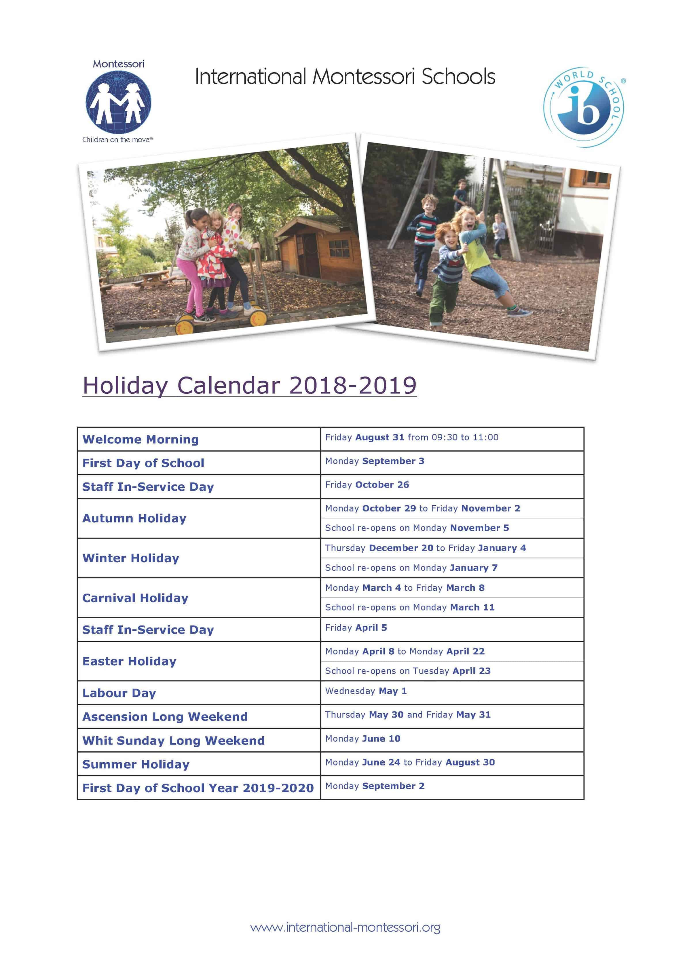 International Montessori Schools » Holiday Calendars
