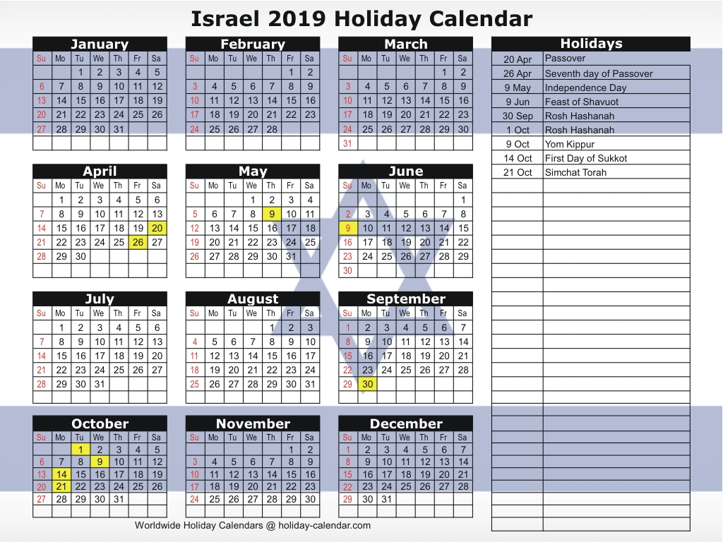 Israel 2019 / 2020 Holiday Calendar