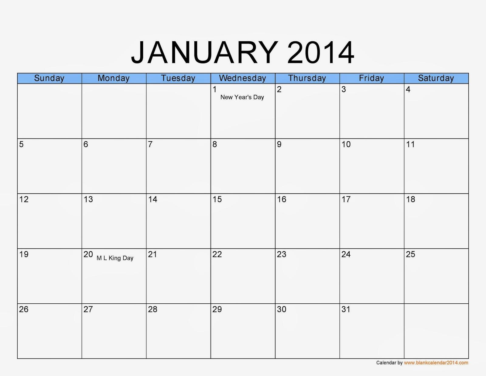 January 2014 Calendar Printable #1 - Printable Calendar 2014, Blank