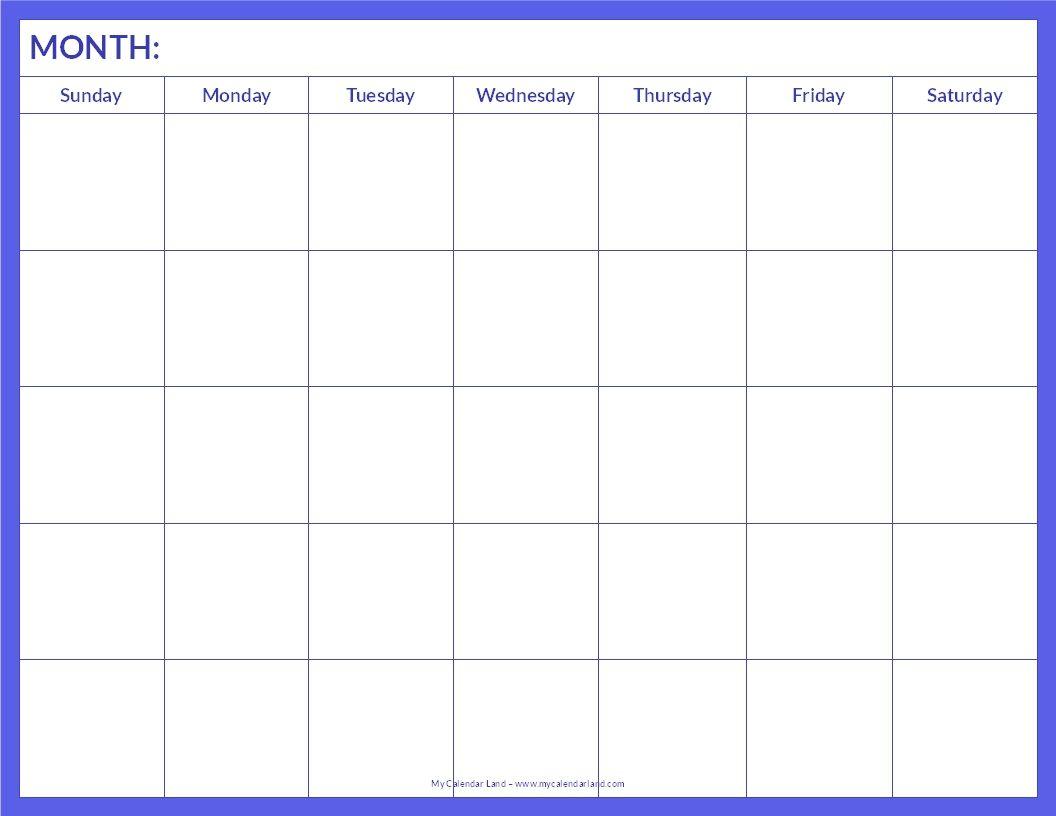 January 2015 Calendar Template Printable Blank Calendar Page - Blank