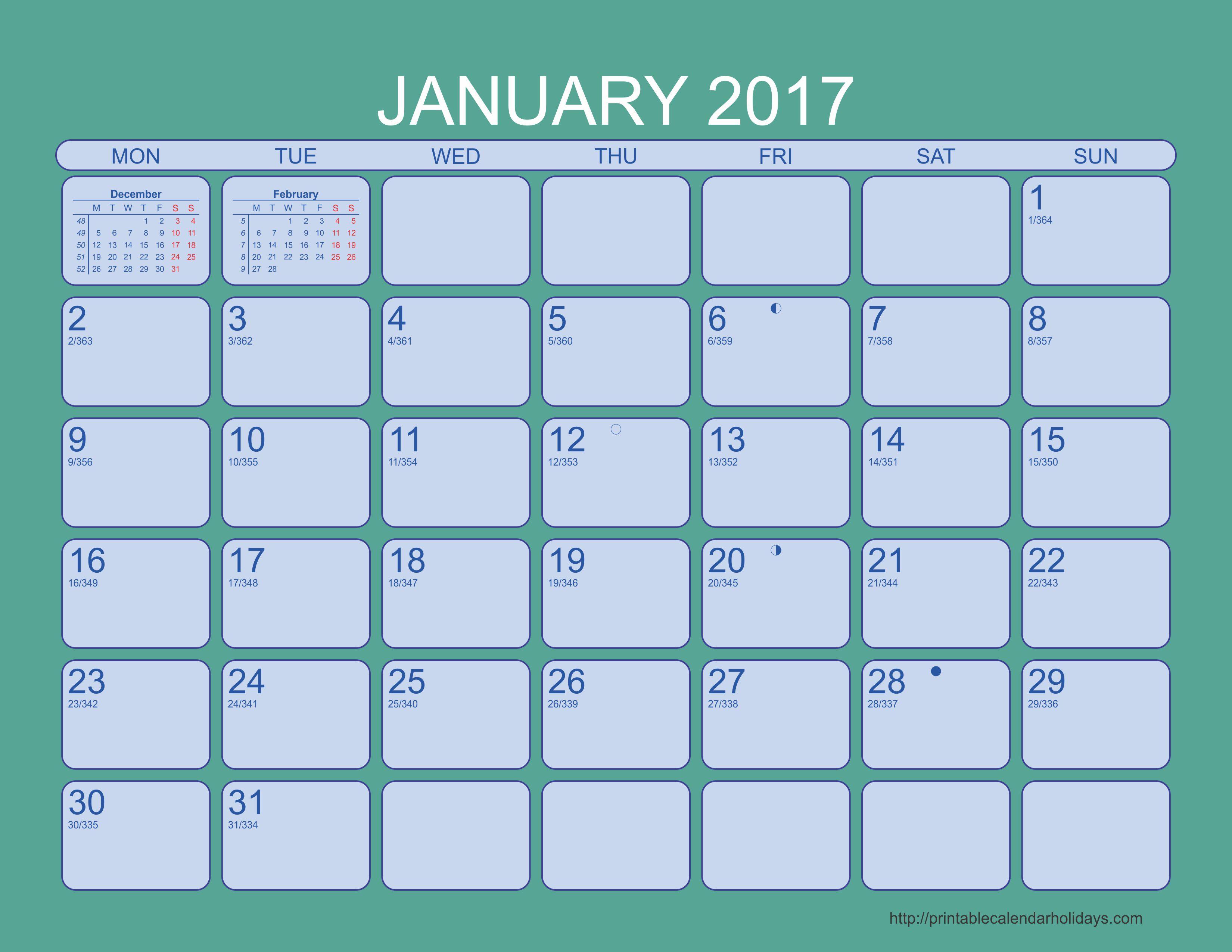 January 2017 Calendar - 6 Templates Landscape - Printable 2017 2018