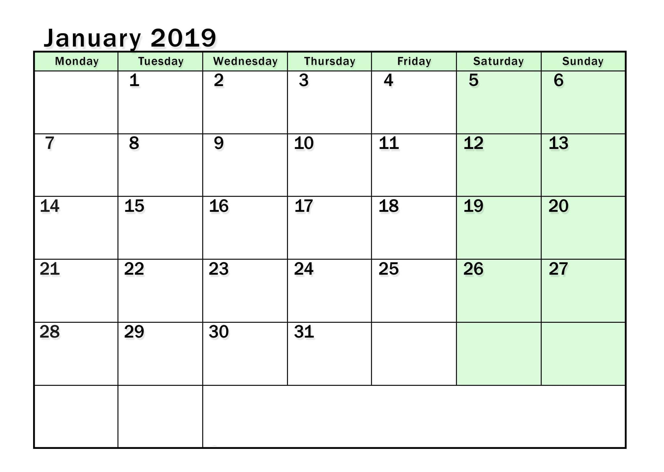 January 2019 Calendar Pdf Worksheet