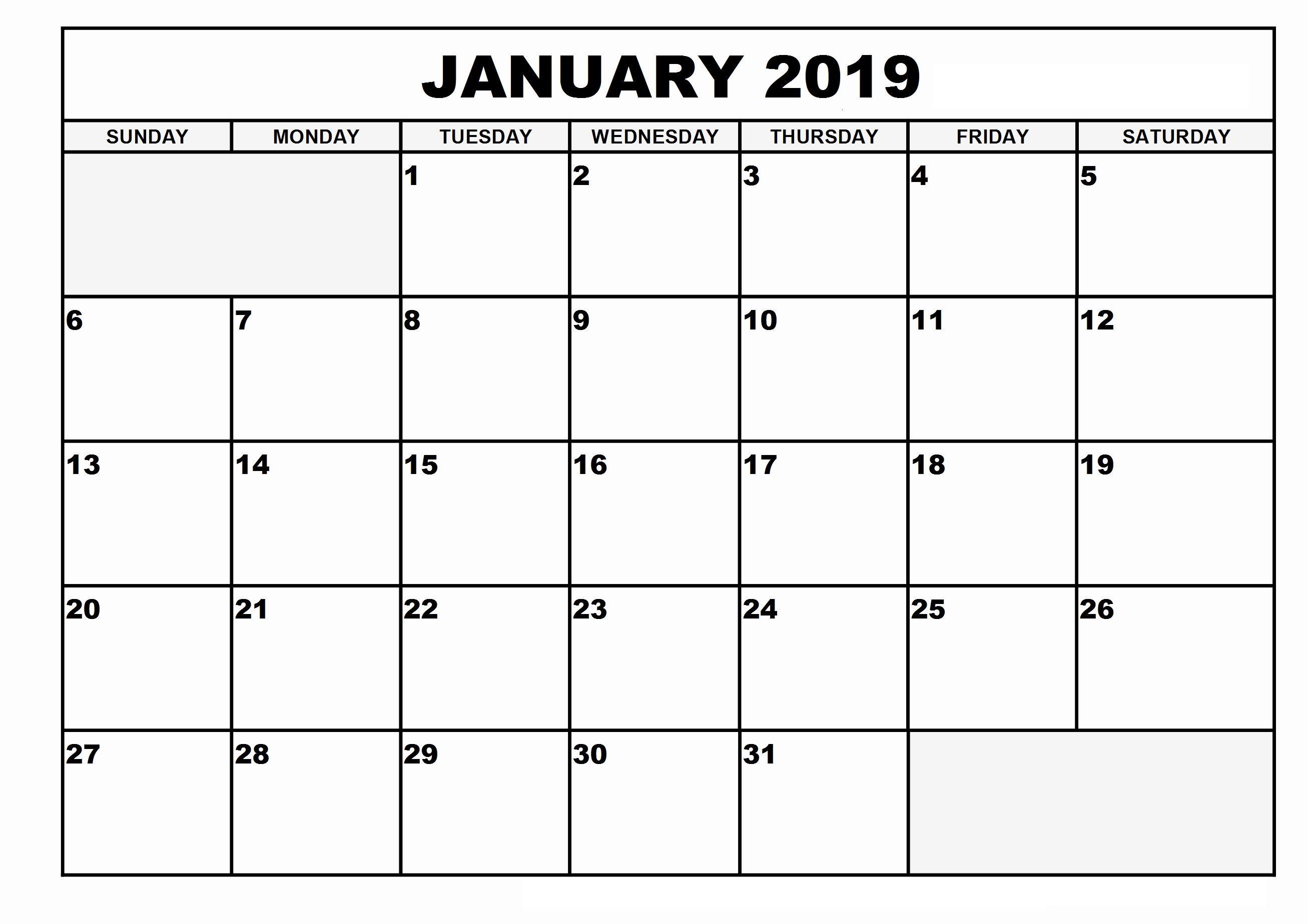 January 2019 Calendar Template Dates