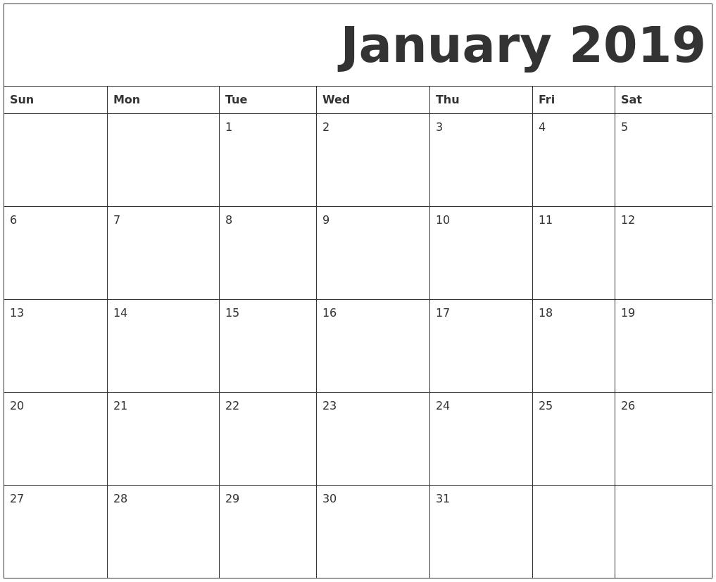 January 2019 Free Printable Calendar