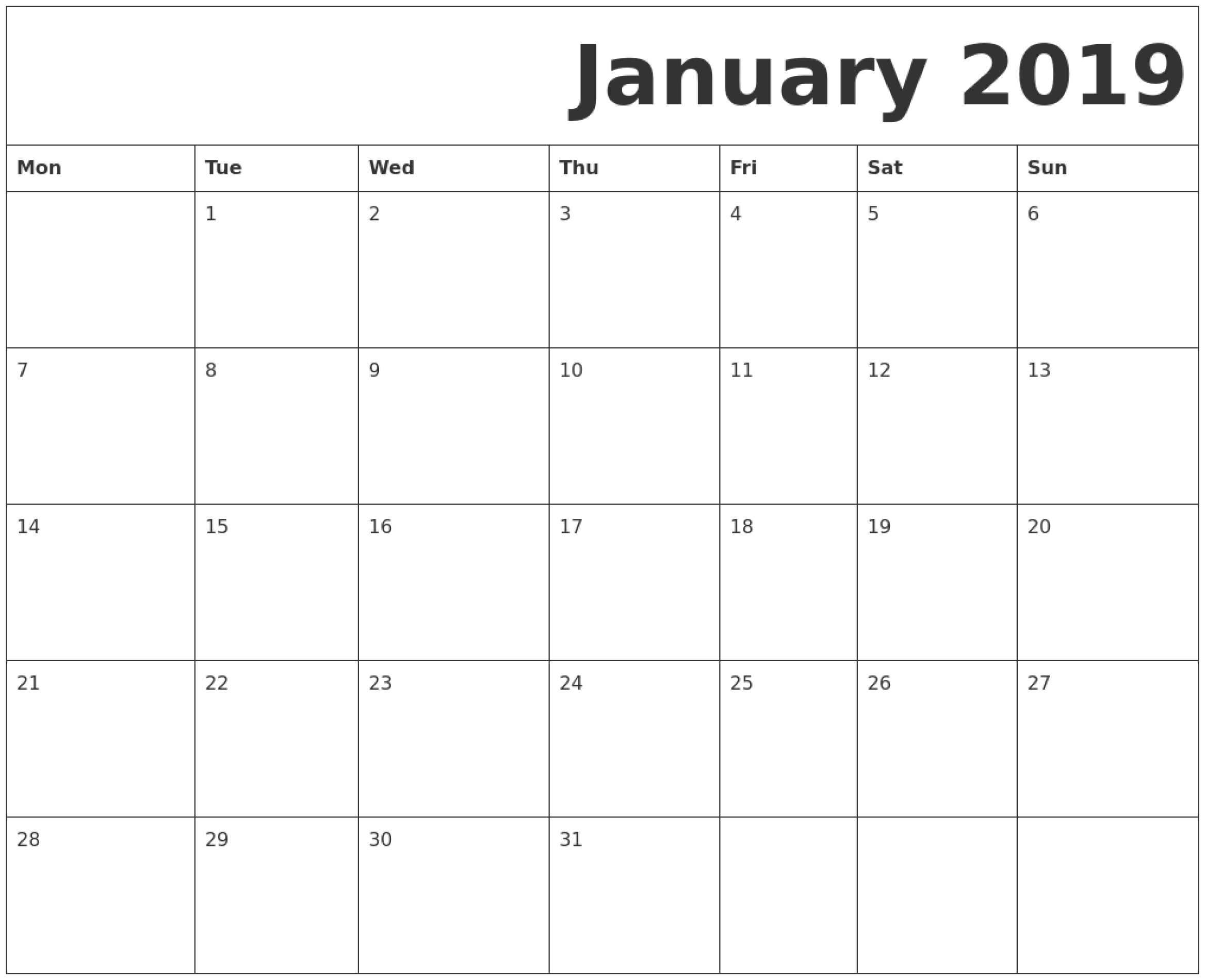 January 2019 Printable Calendar Monday Start.