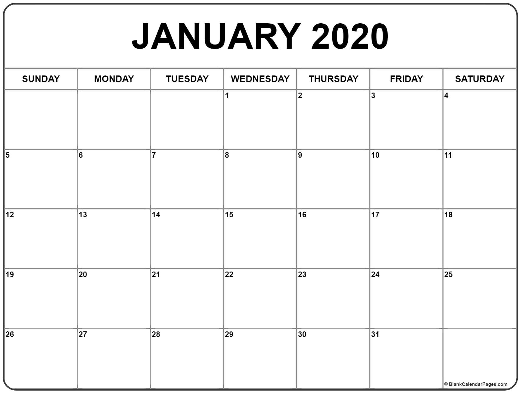 January 2020 Calendar Blank Appointments » Creative Calendar Ideas