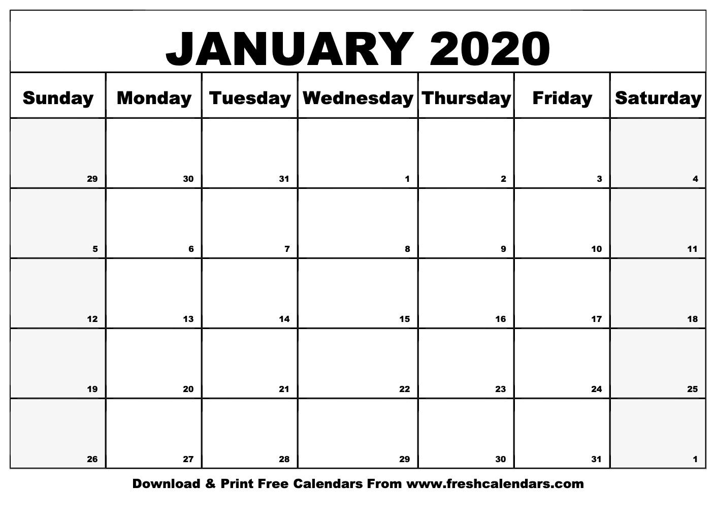January 2020 Calendar Printable - Fresh Calendars