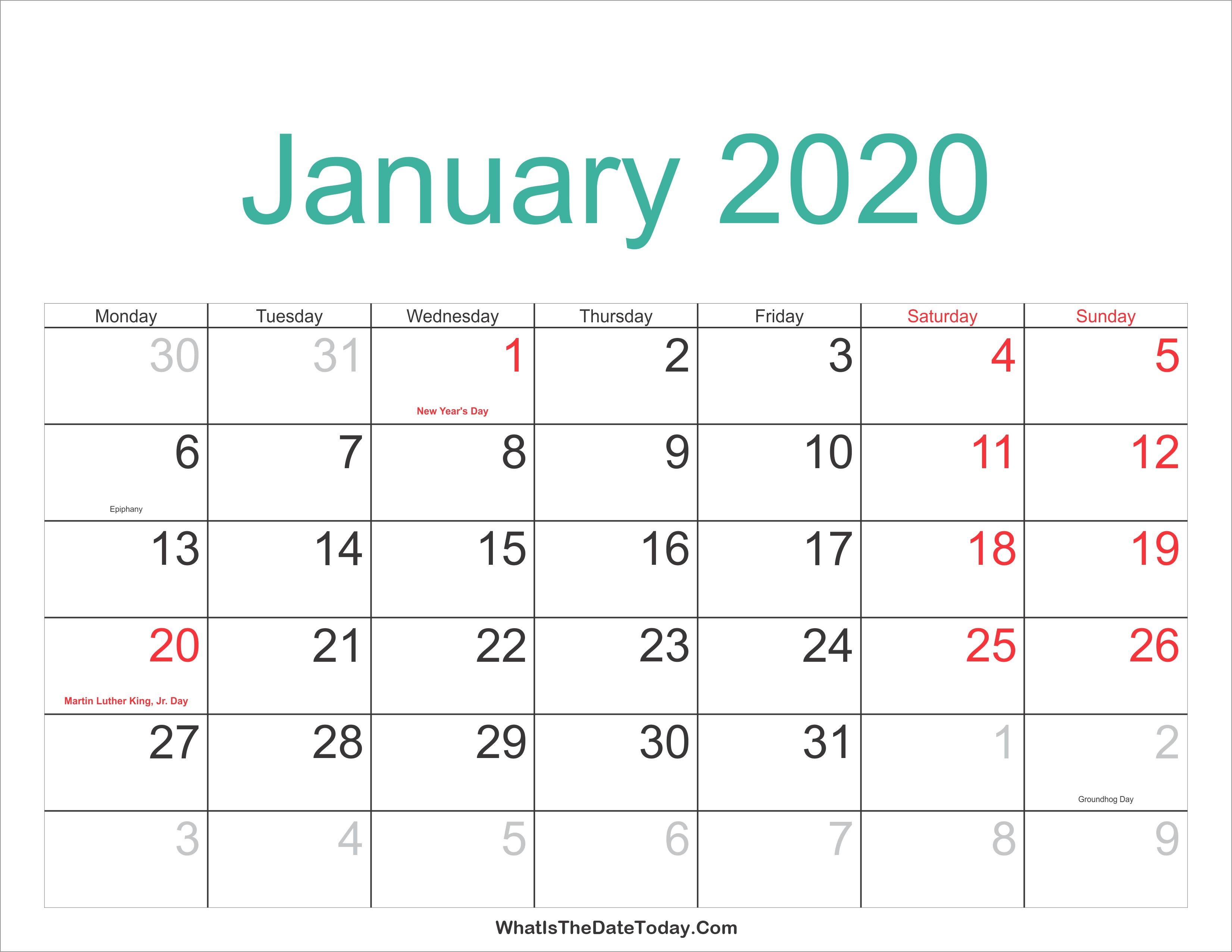January 2020 Calendar Printable Holidays Full
