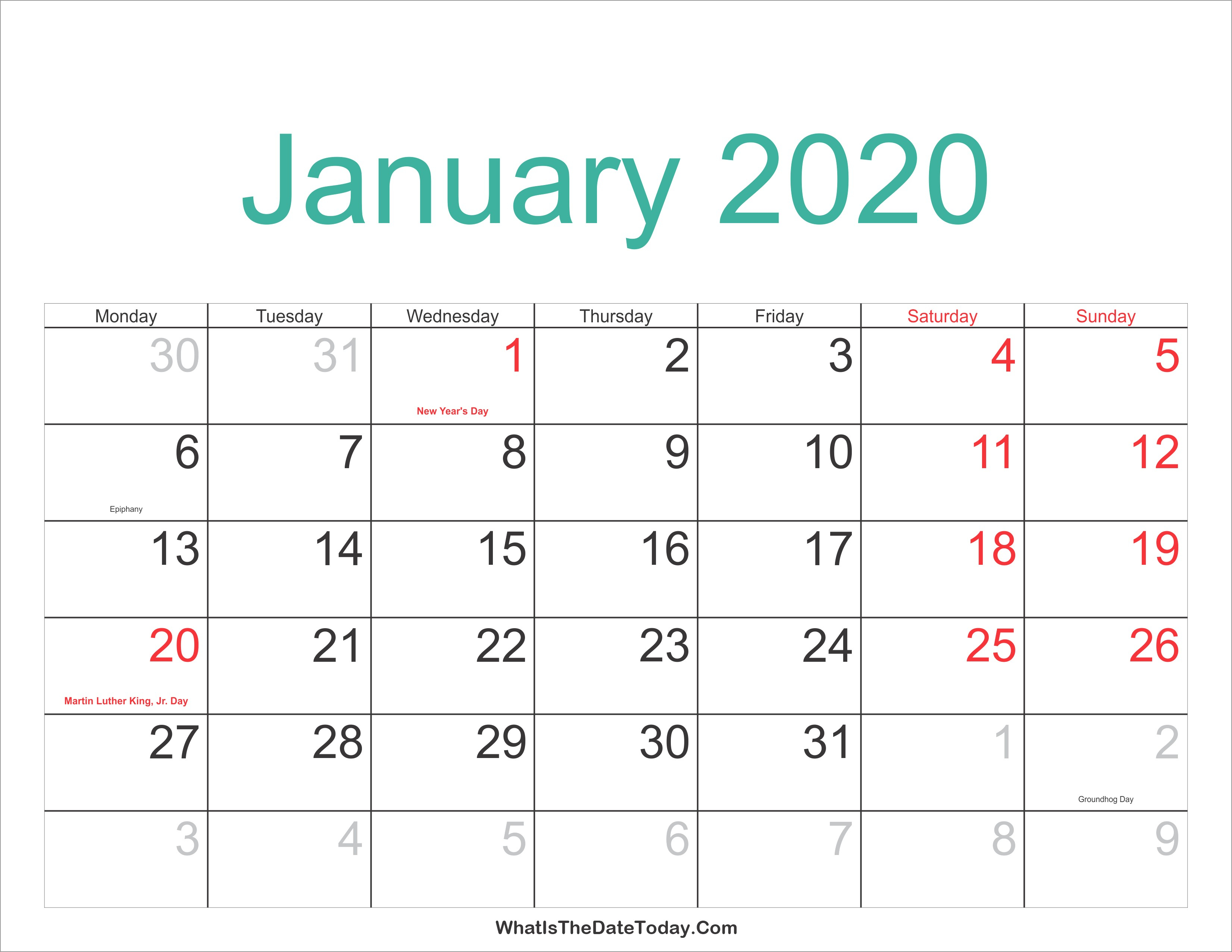 January 2020 Calendar Printable Holidays Full