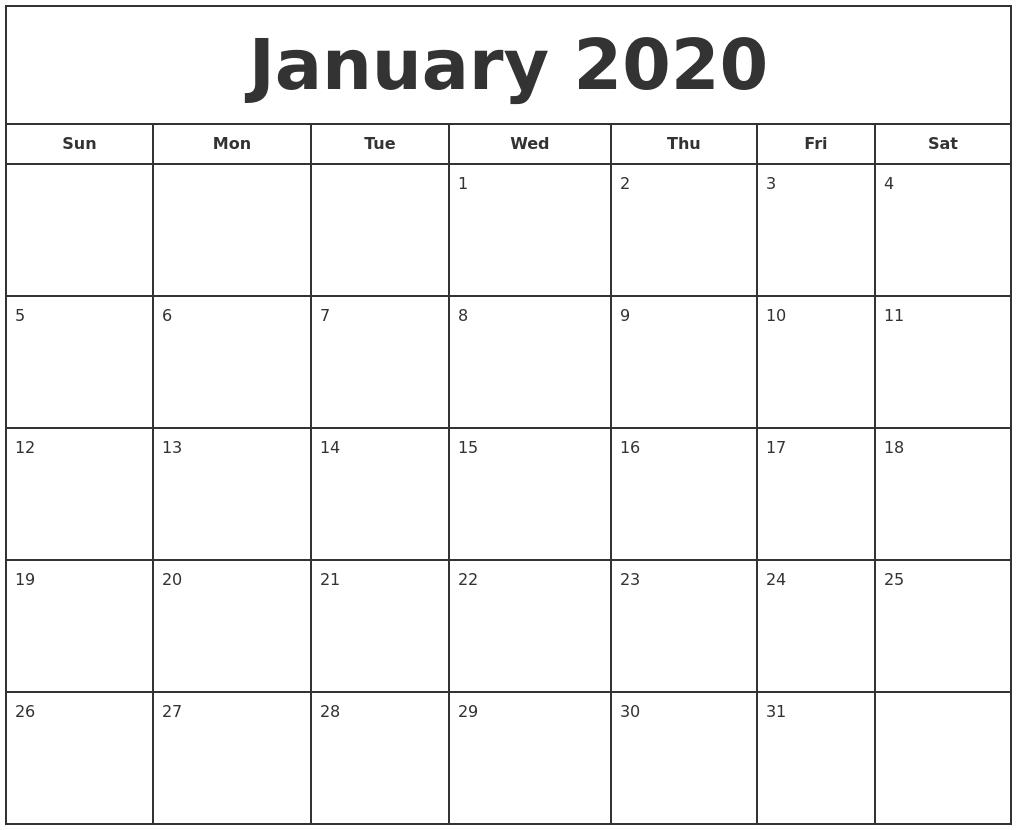 January 2020 Print Free Calendar