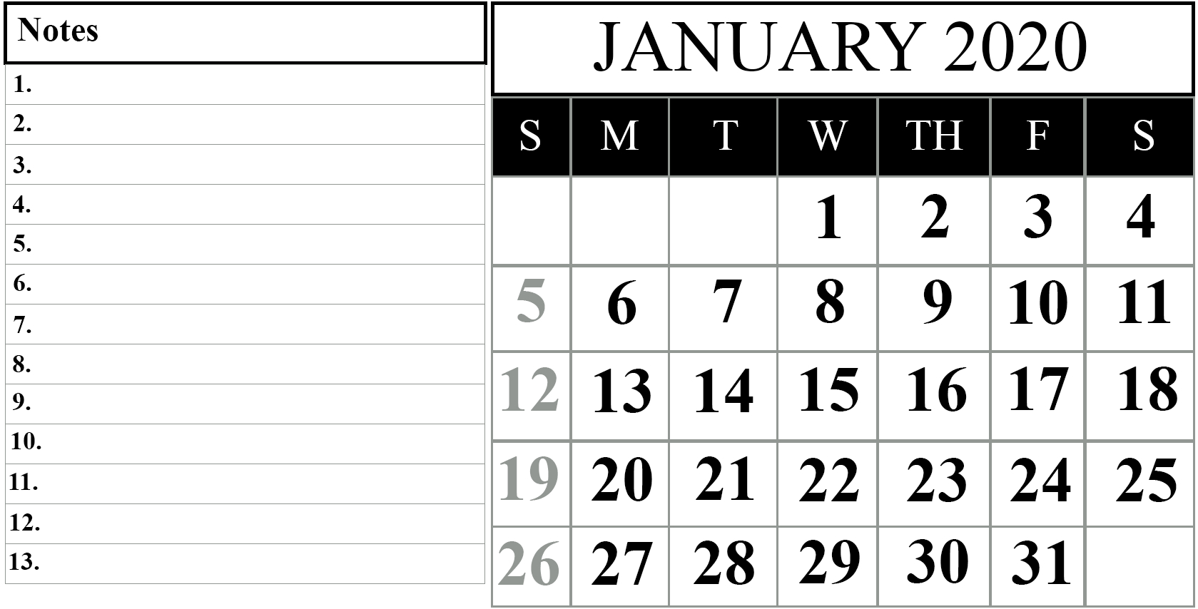 January 2020 Printable Calendar Template #2020Calendars