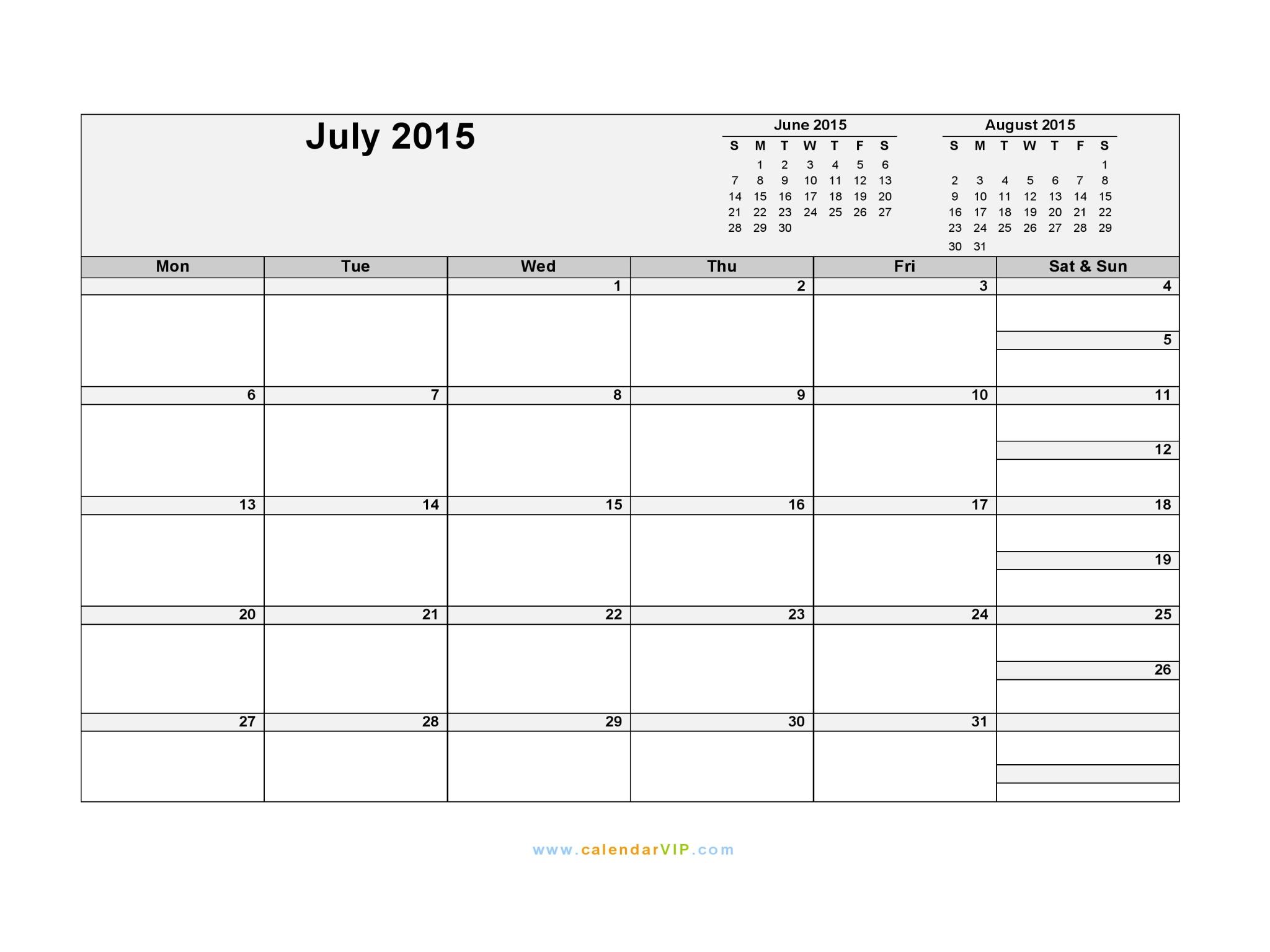 July 2015 Calendar - Blank Printable Calendar Template In Pdf Word Excel
