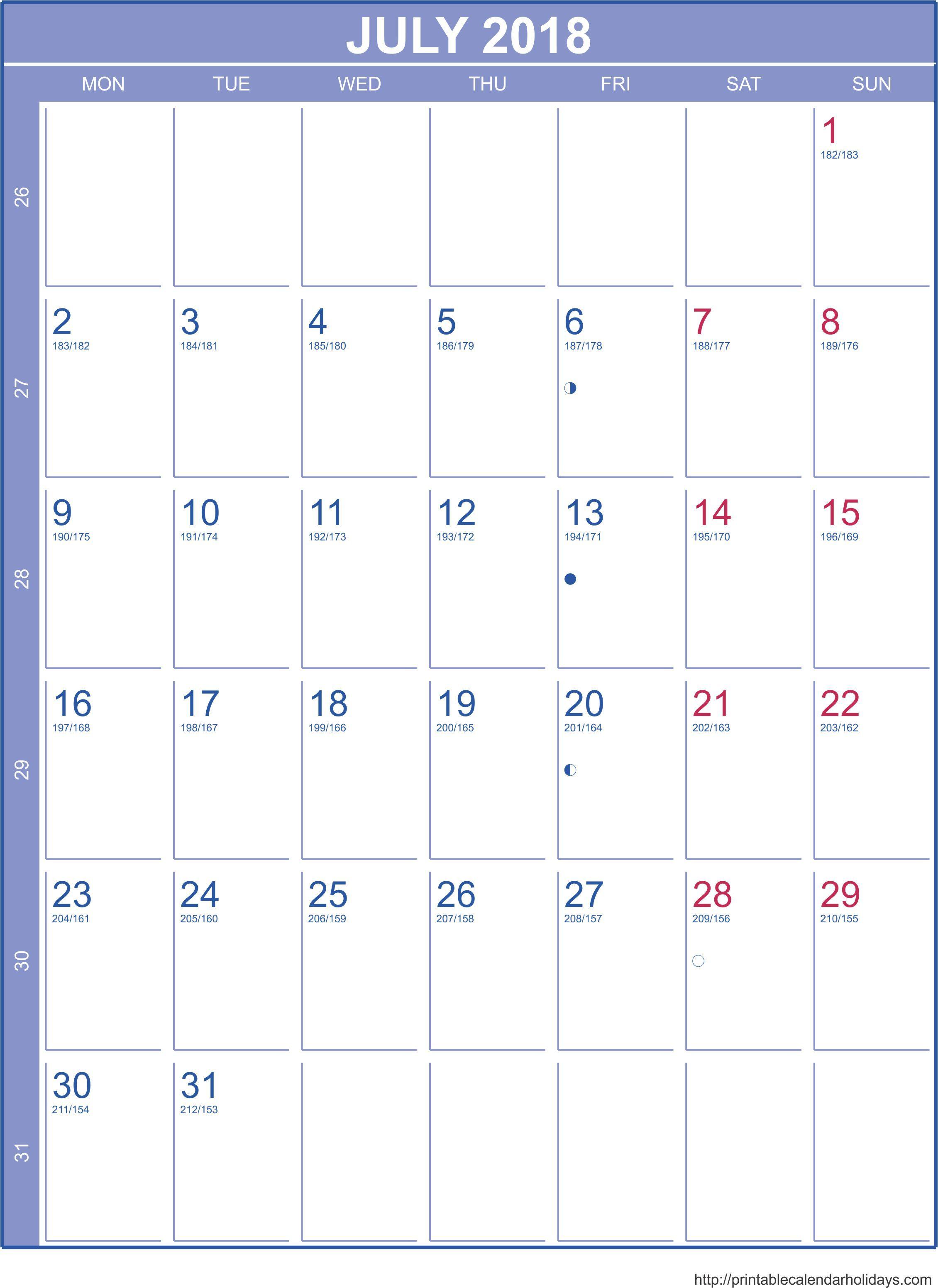 July 2018 Calendar – Template Portrait - Printable 2017 Calendar