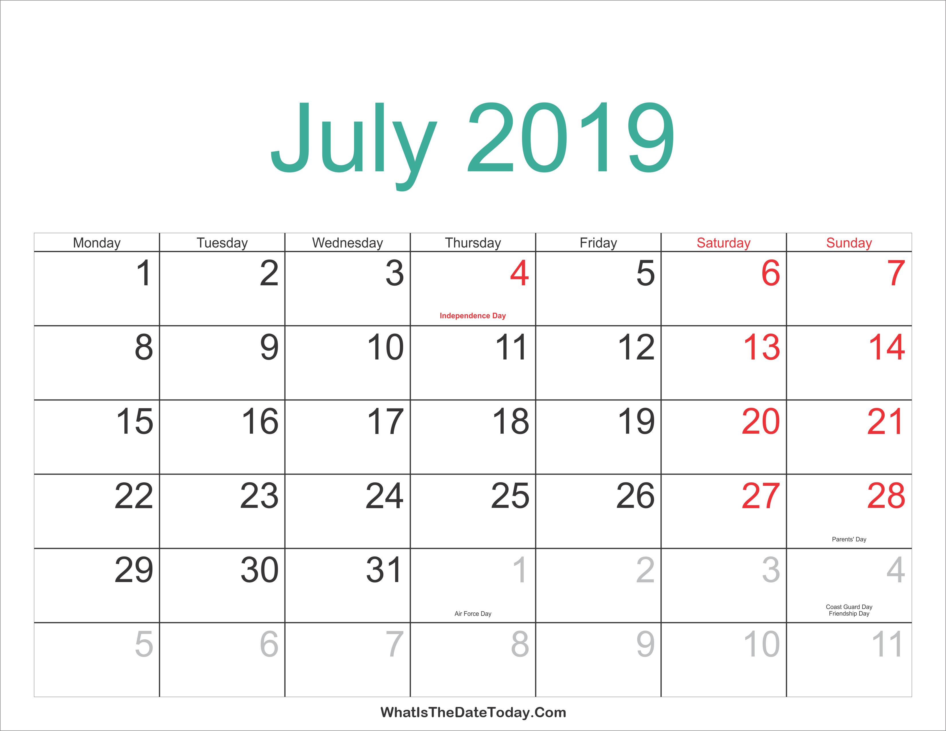 July 2019 Calendar Malaysia