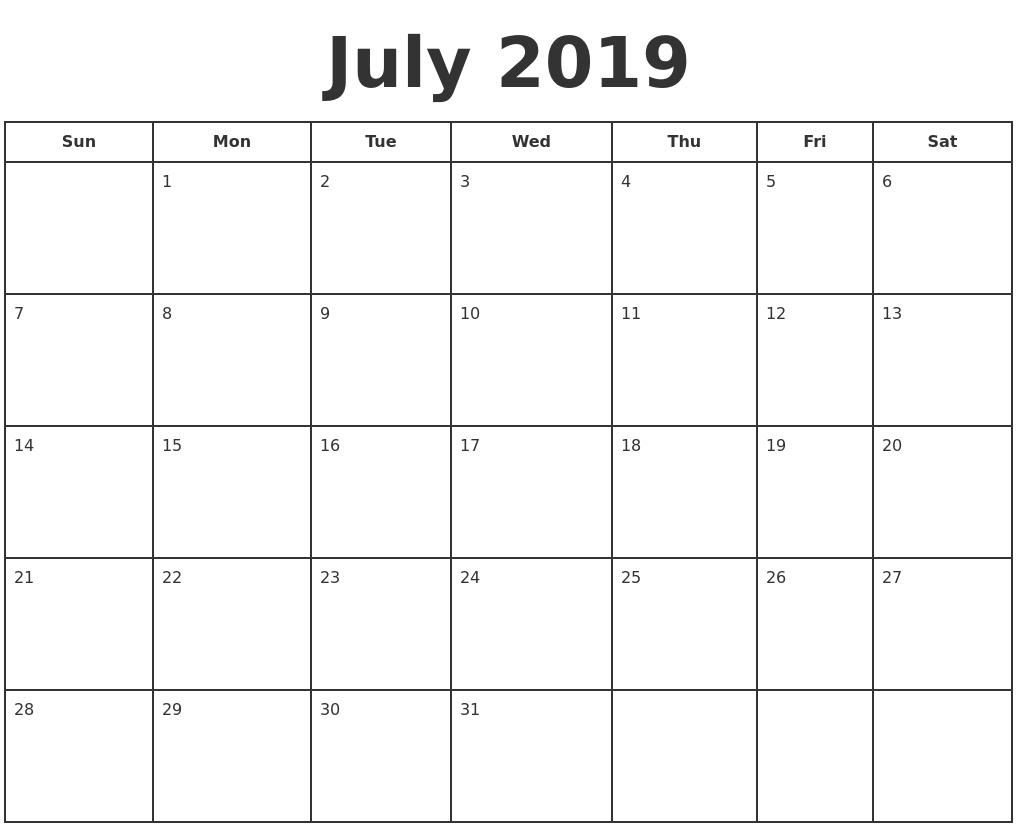July 2019 Print A Calendar