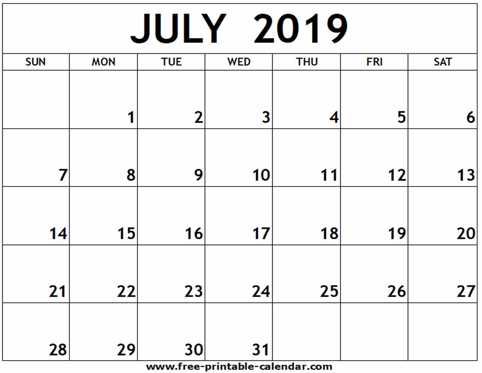 July 2019 Printable Calendar - Free-Printable-Calendar