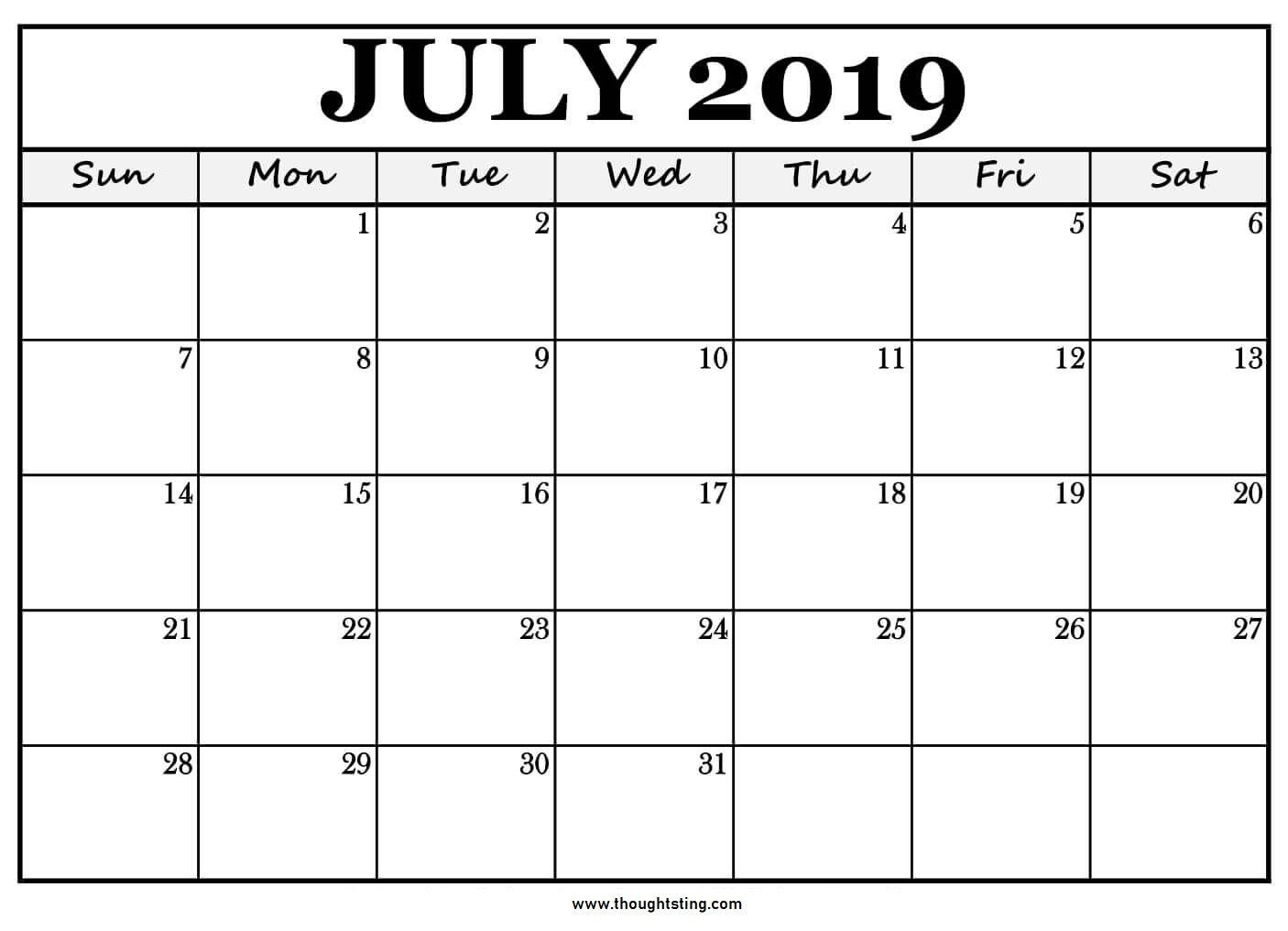 July 2019 Printable