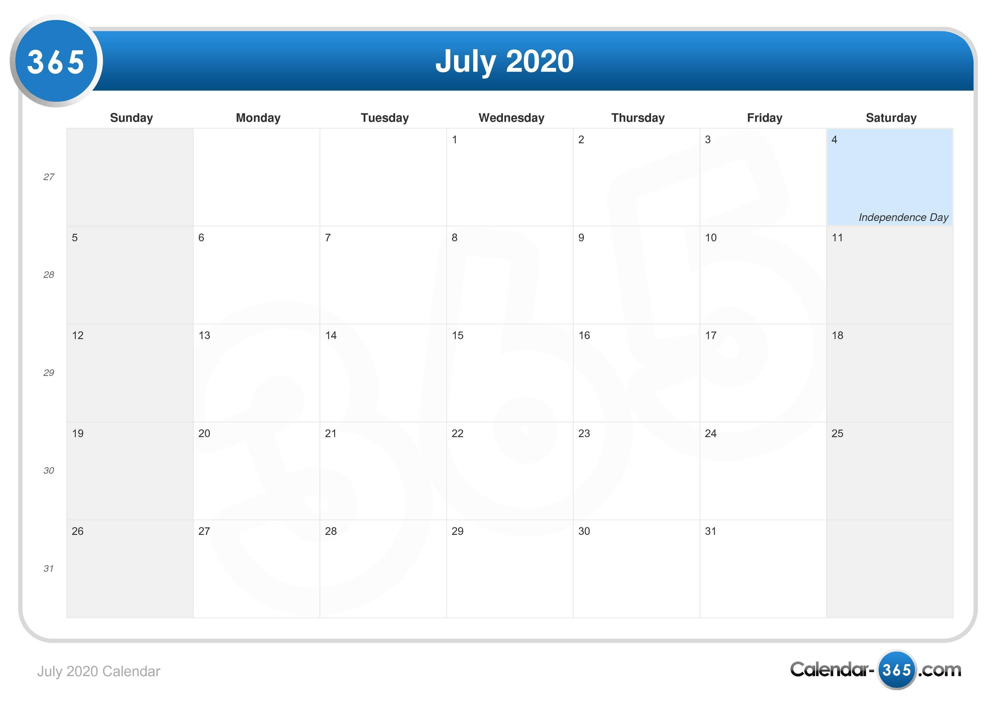 July 2020 Calendar