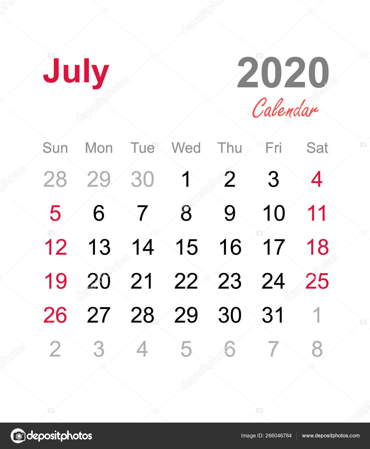 July 2020 Calendar Monthly Calendar Template 2020 Monthly Calendar