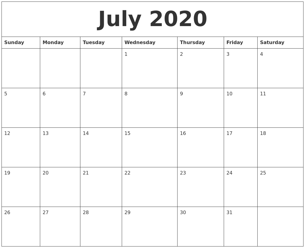 July 2020 Calendar – Pata Sauti