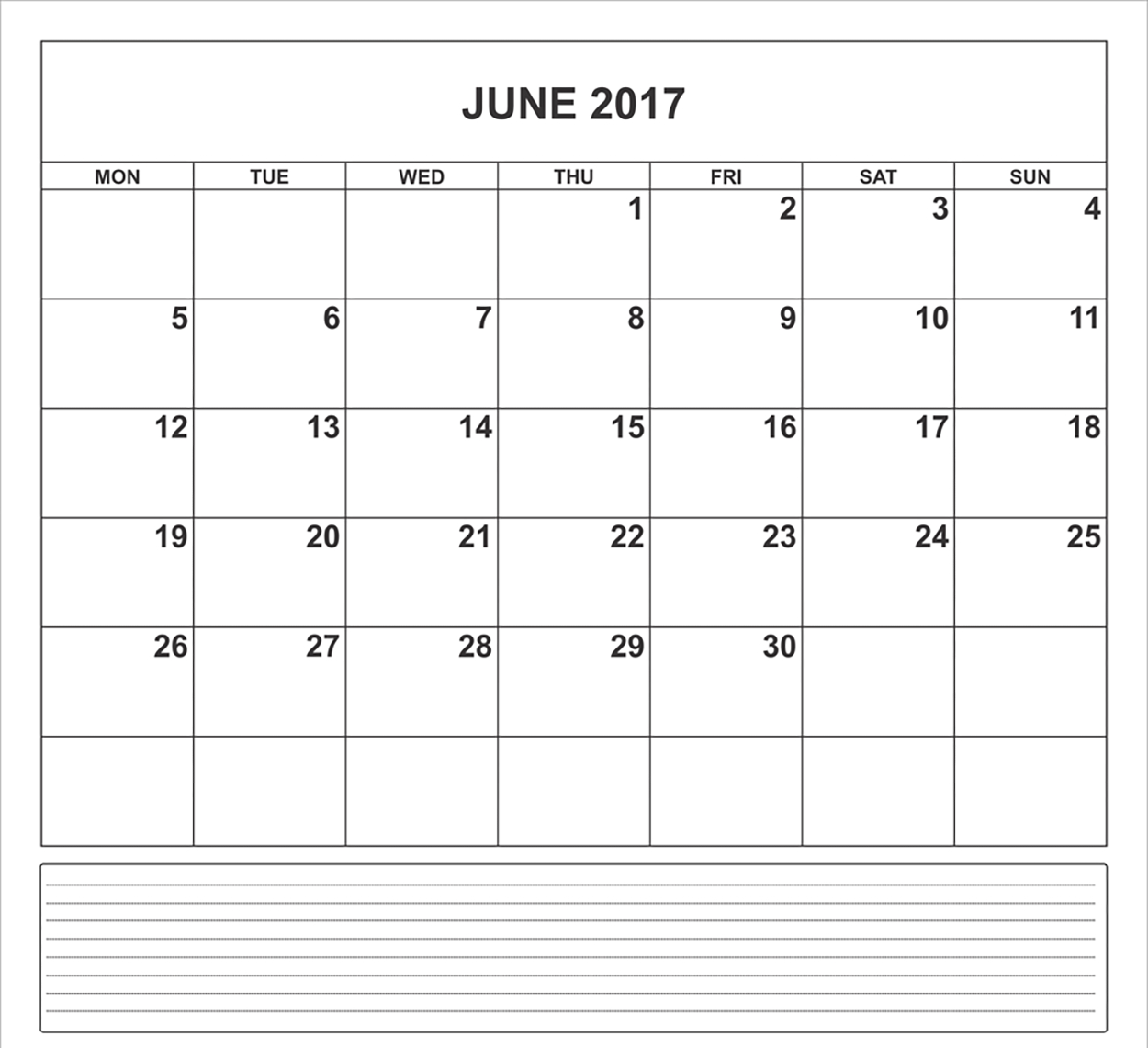 June 2017 Excel Calendar, 2017 June Excel Calendar Templates (.xls