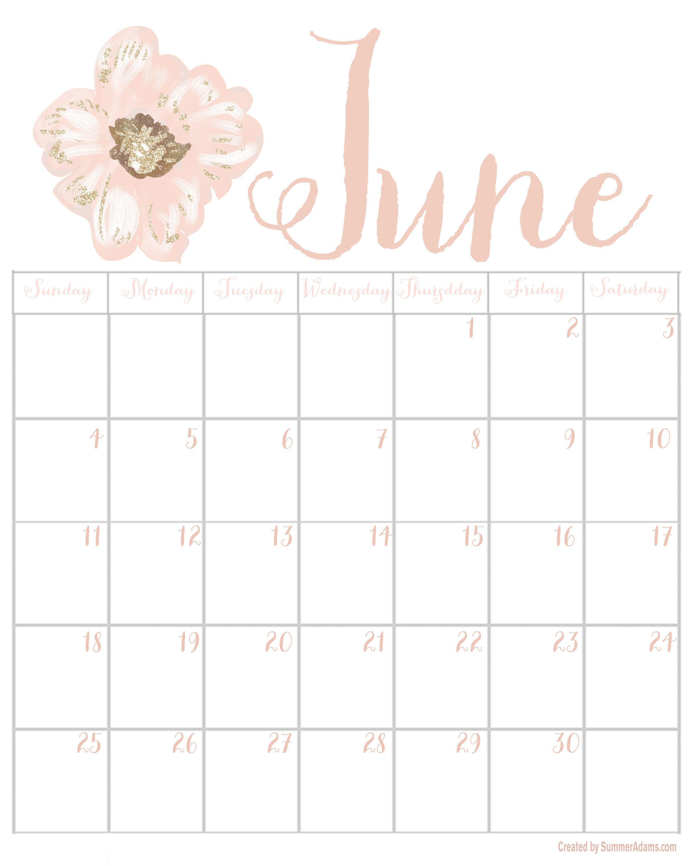 June 2017 Printable Calendar, Digital Graphic & Tech Wallpaper