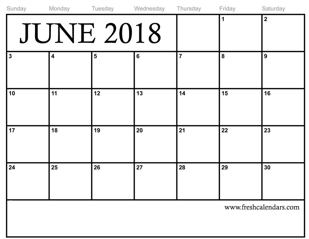 June 2018 Calendar Printable - Fresh Calendars