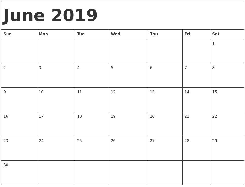 June 2019 Blank Calendar Landscape And Vertical Layout - Free