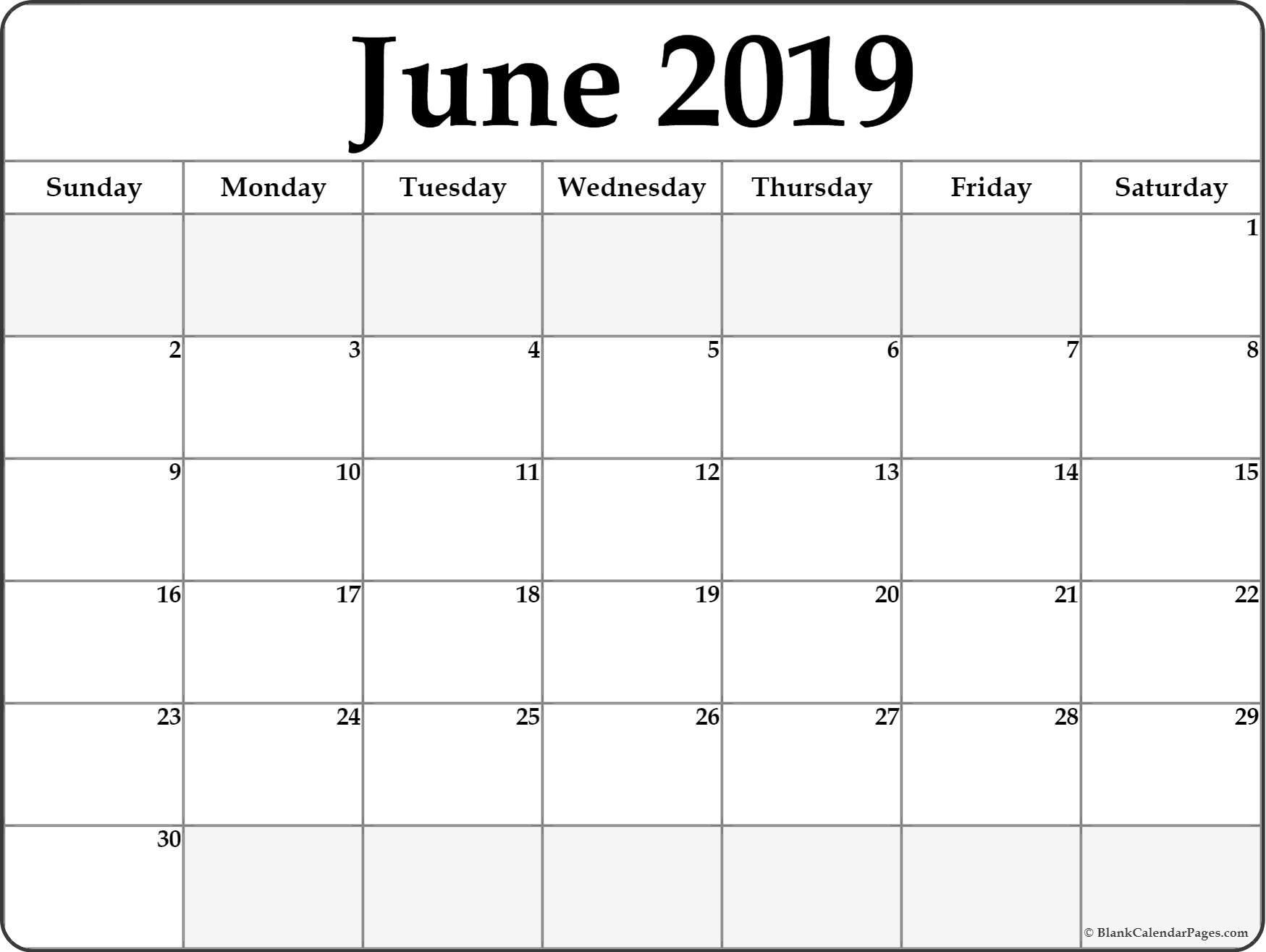June 2019 Blank Calendar Templates. With Optimum Printable Calendar