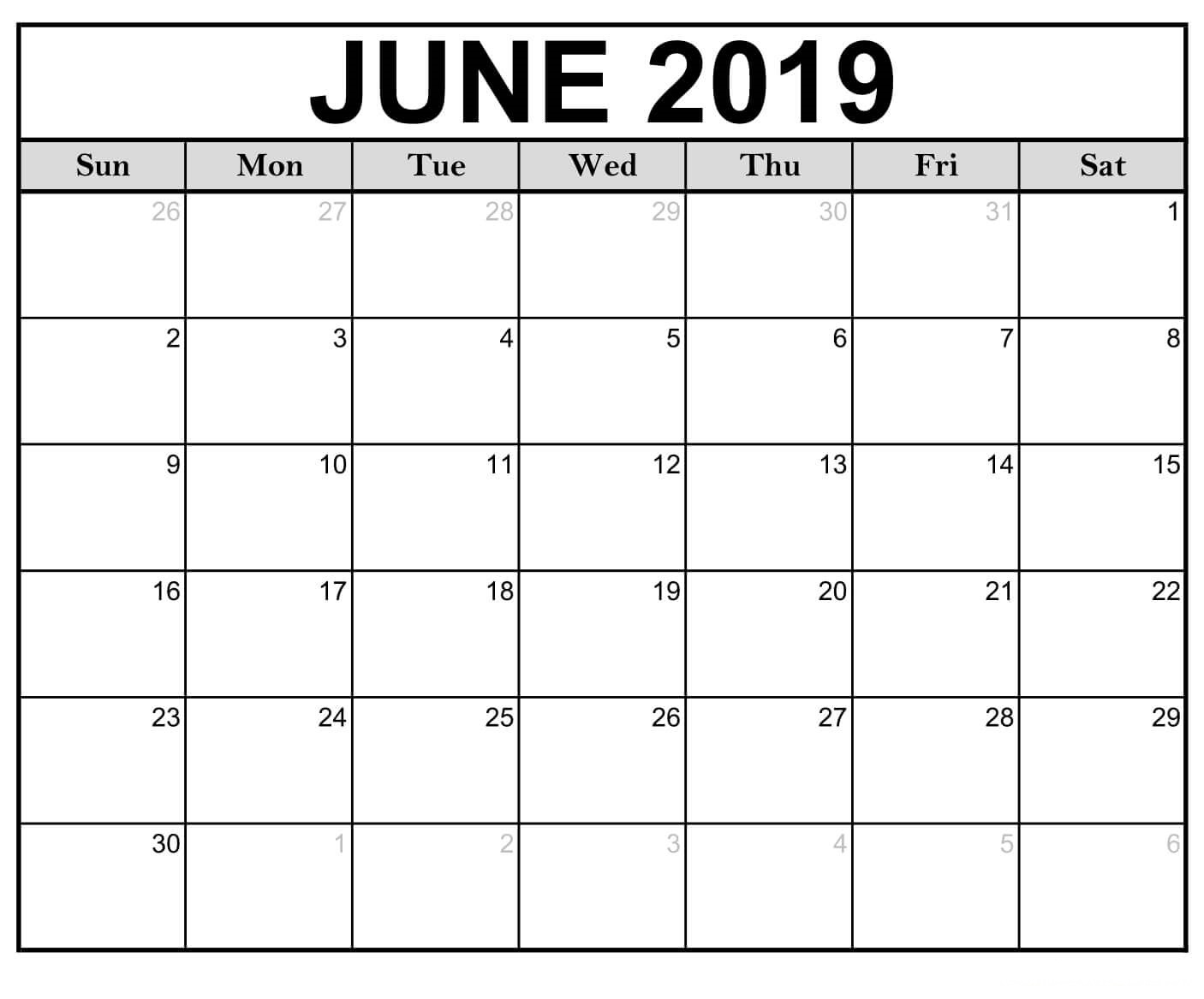 June 2019 Calendar Printable Blank Templates - Calendar-Kart