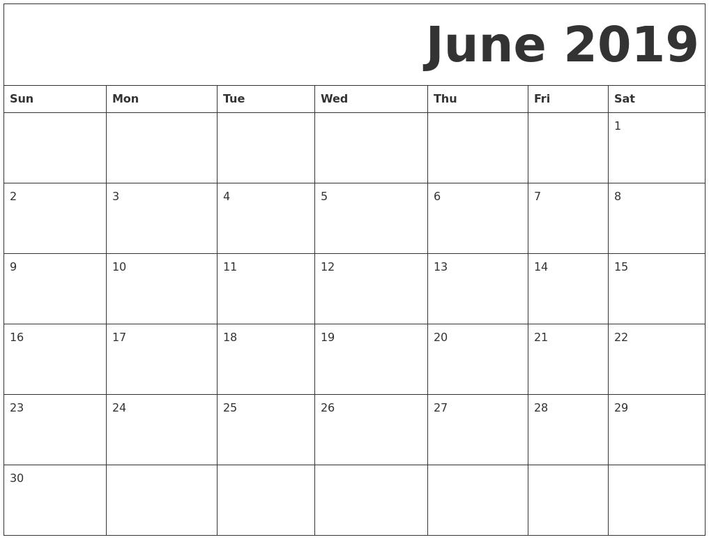 June 2019 Free Printable Calendar