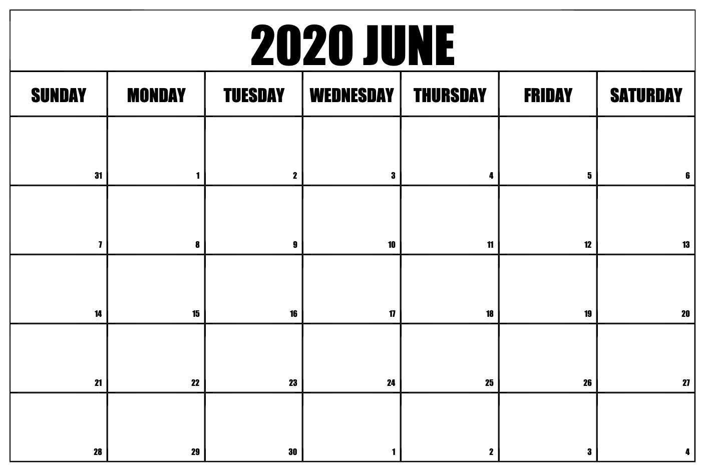 June 2020 Calendar Printable Template With Holidays