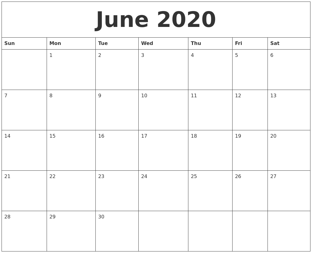 June 2020 Free Printable Monthly Calendar