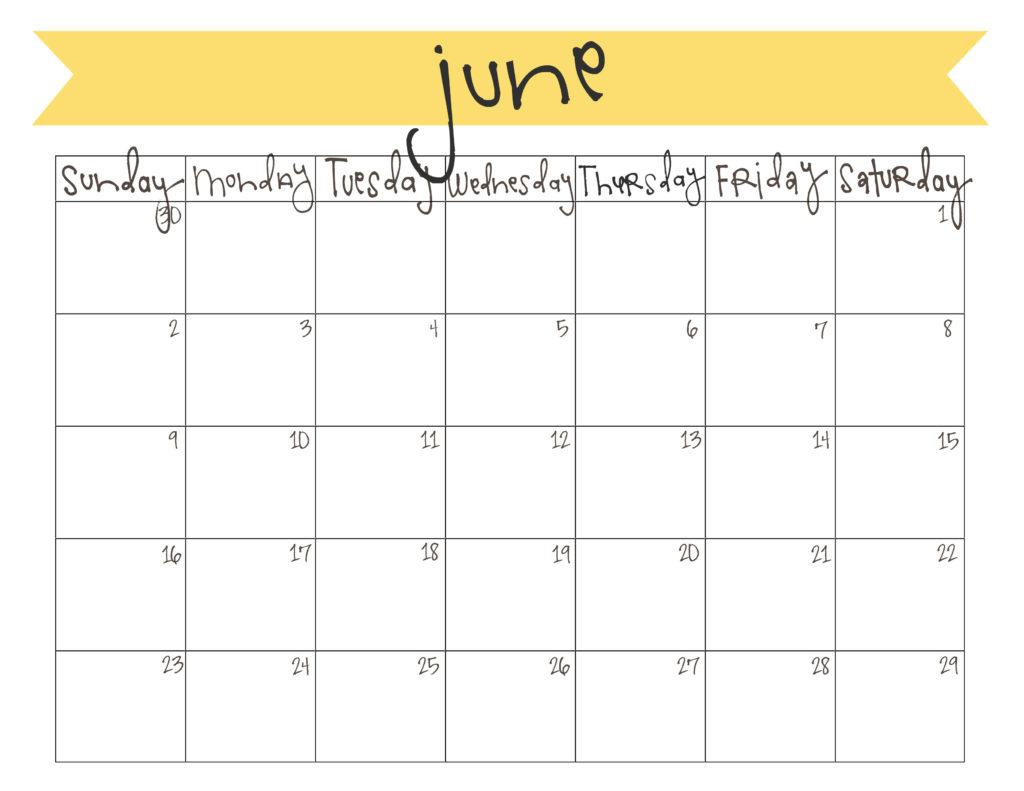 June Calendar Free Printable