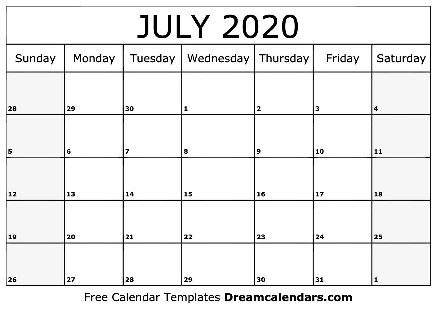 Ko-Fi - Printable July 2020 Calendar - Ko-Fi ❤️ Where Creators Get