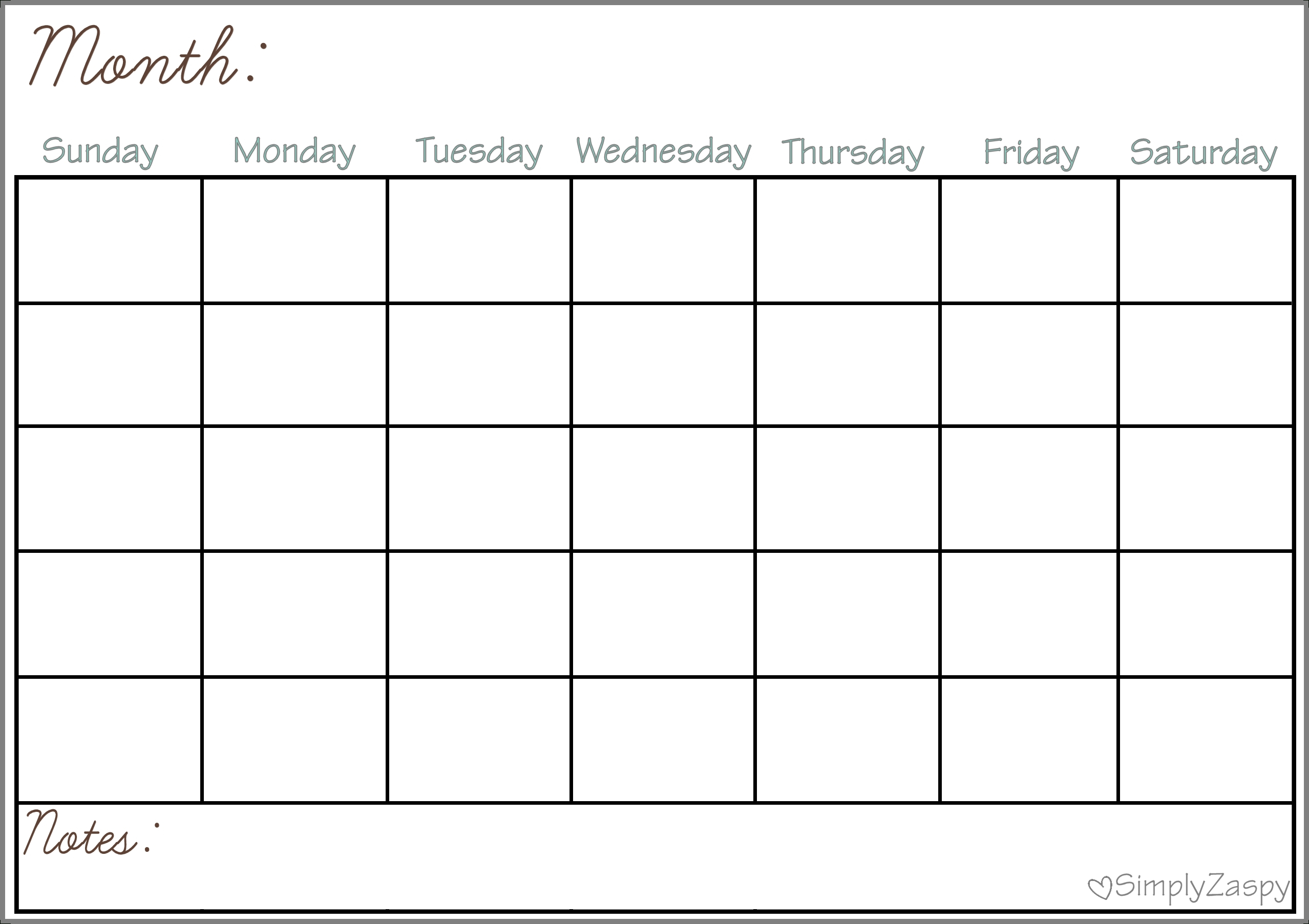 Large Blank Calendar Grid