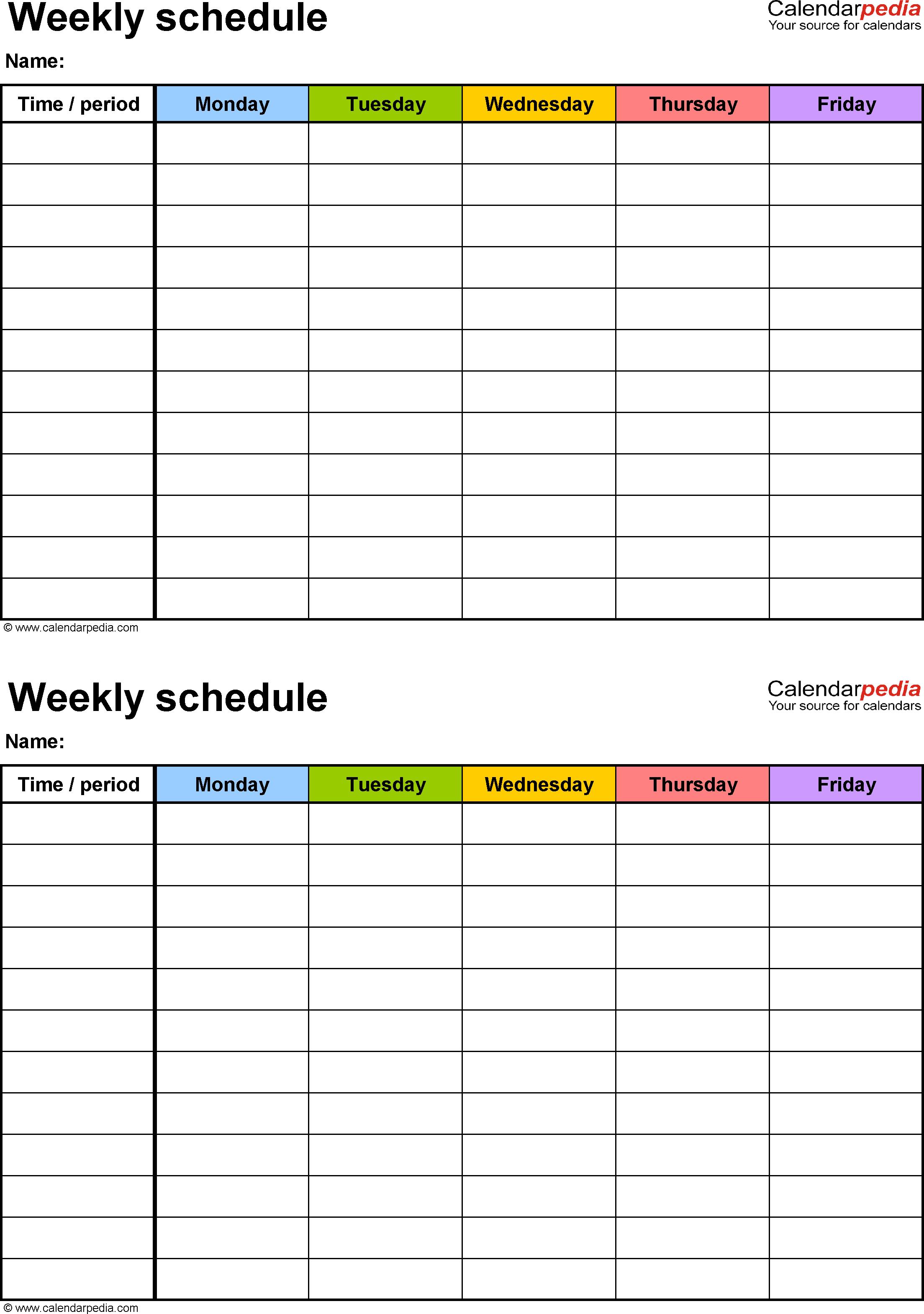 M-F Blank Calendar