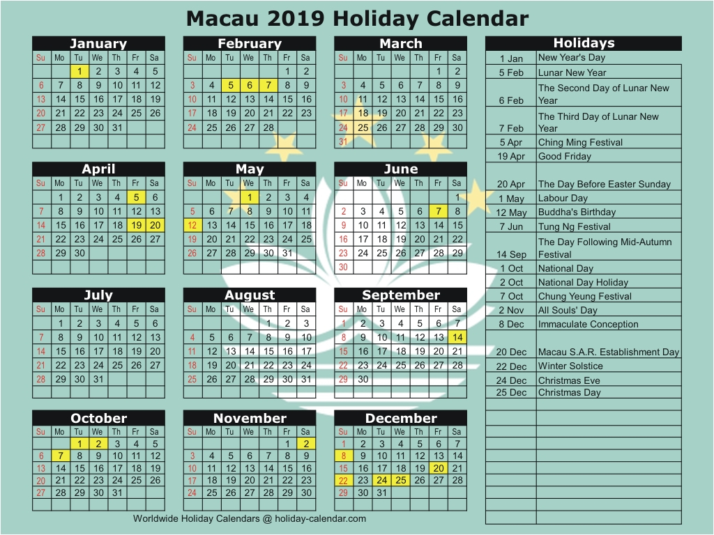 Macau 2019 / 2020 Holiday Calendar