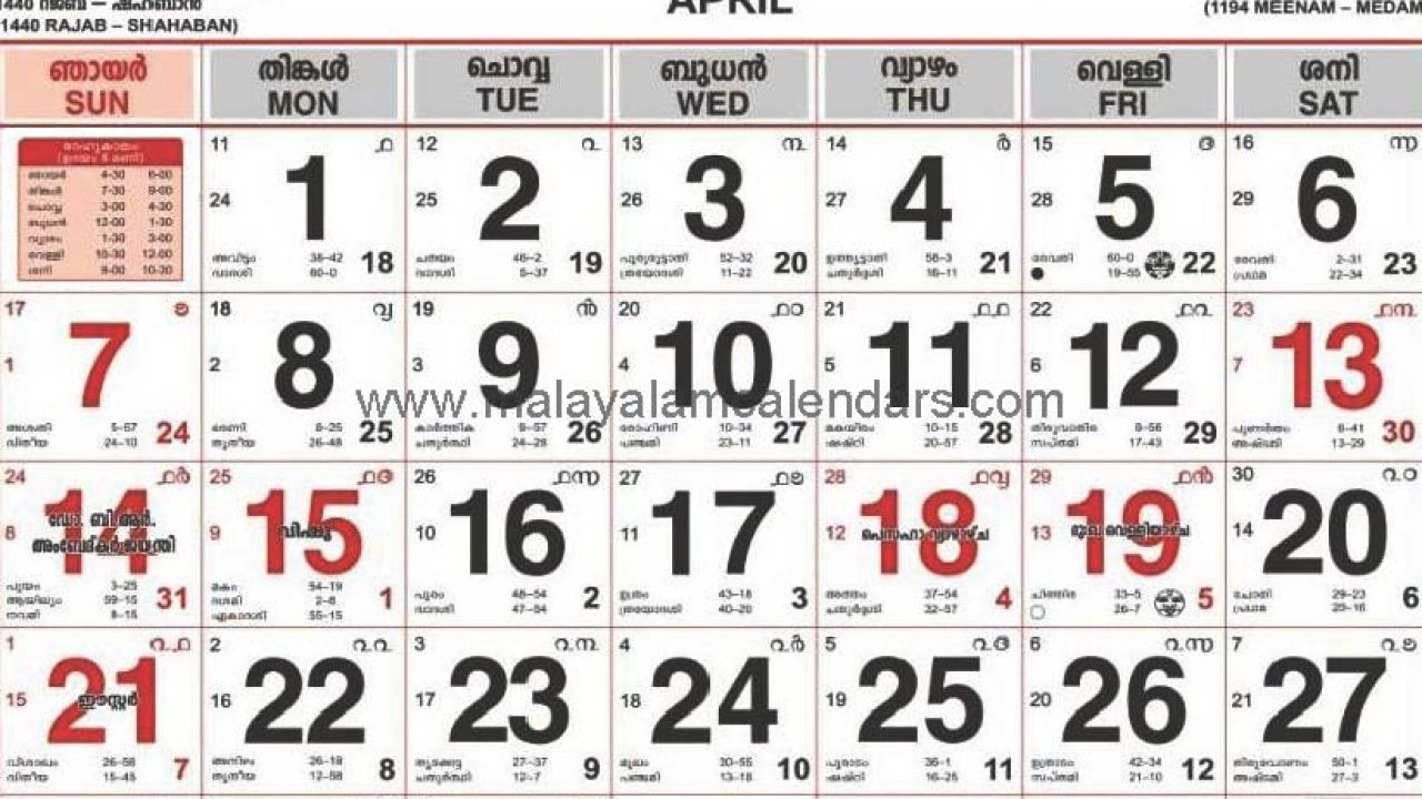Malayalam Calendar April 2019 – Malayalamcalendars