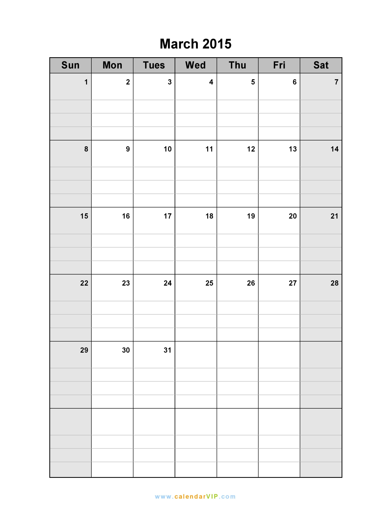 March 2015 Calendar - Blank Printable Calendar Template In Pdf Word