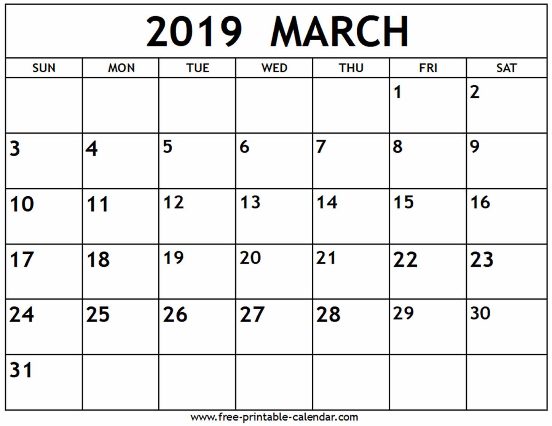 March 2019 Calendar - Free-Printable-Calendar