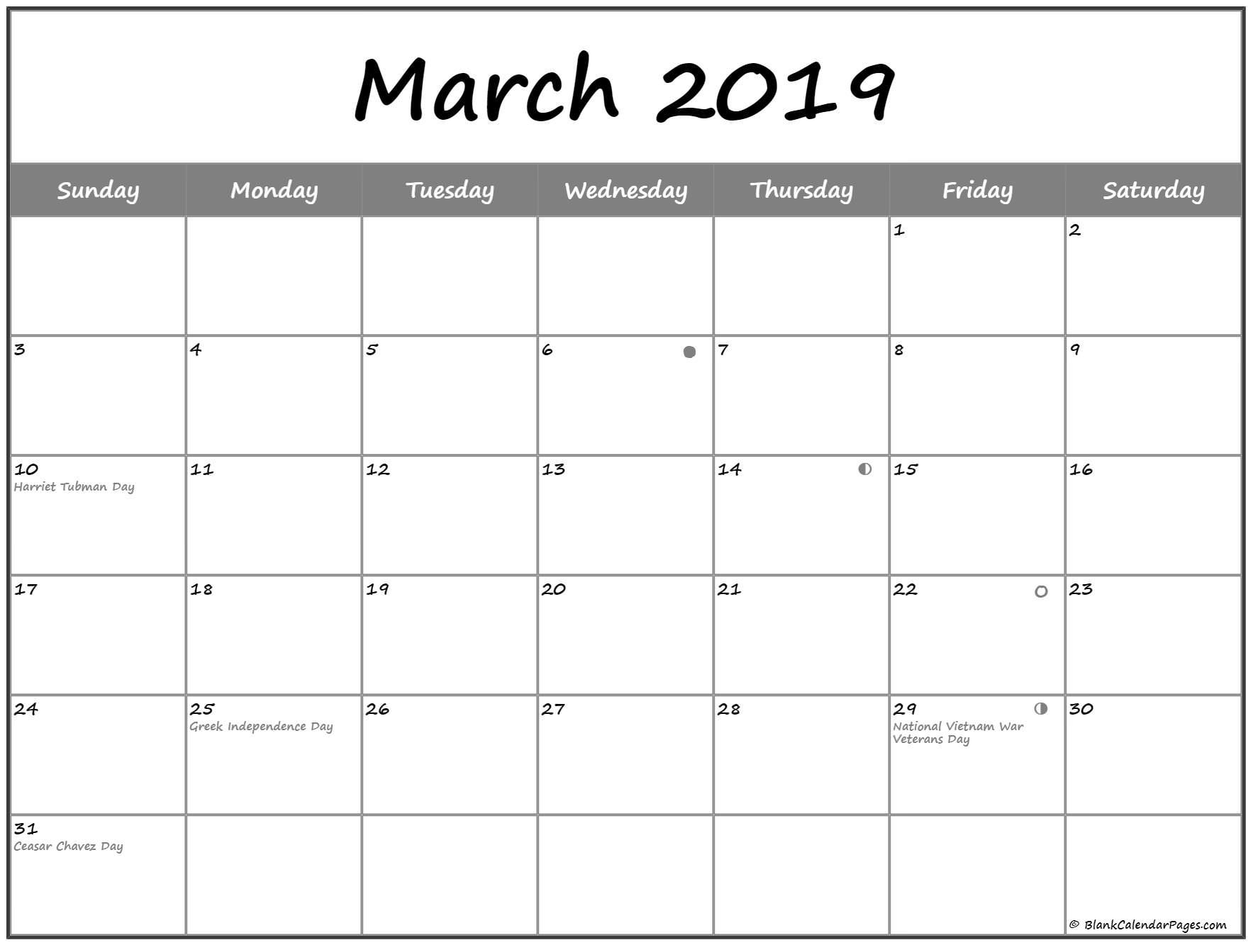 March 2019 Lunar Calendar Moon Phases