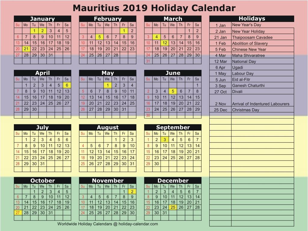 Mauritius 2019 / 2020 Holiday Calendar