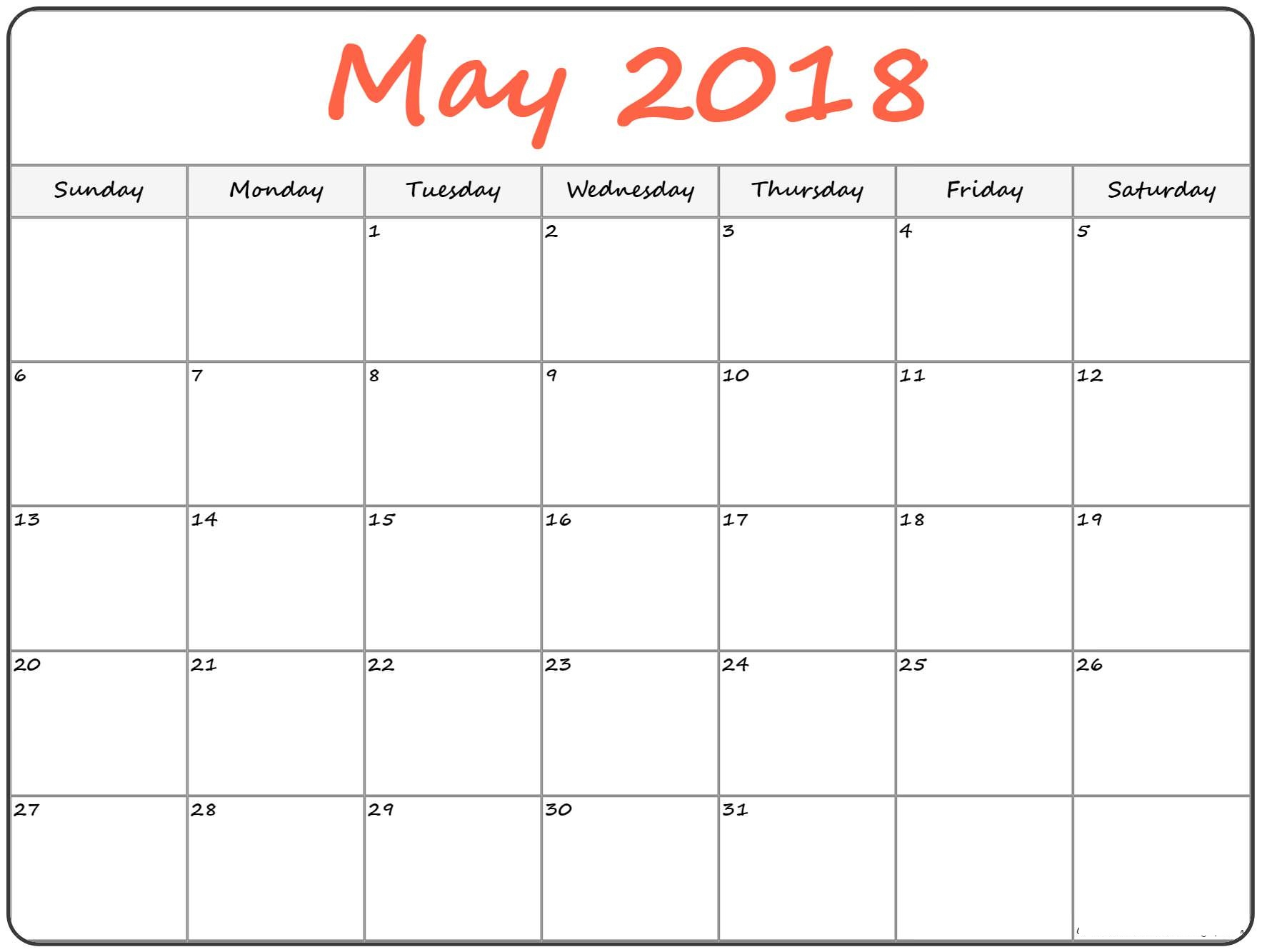 May 2018 Calendar Landscape Vertical Portrait Free