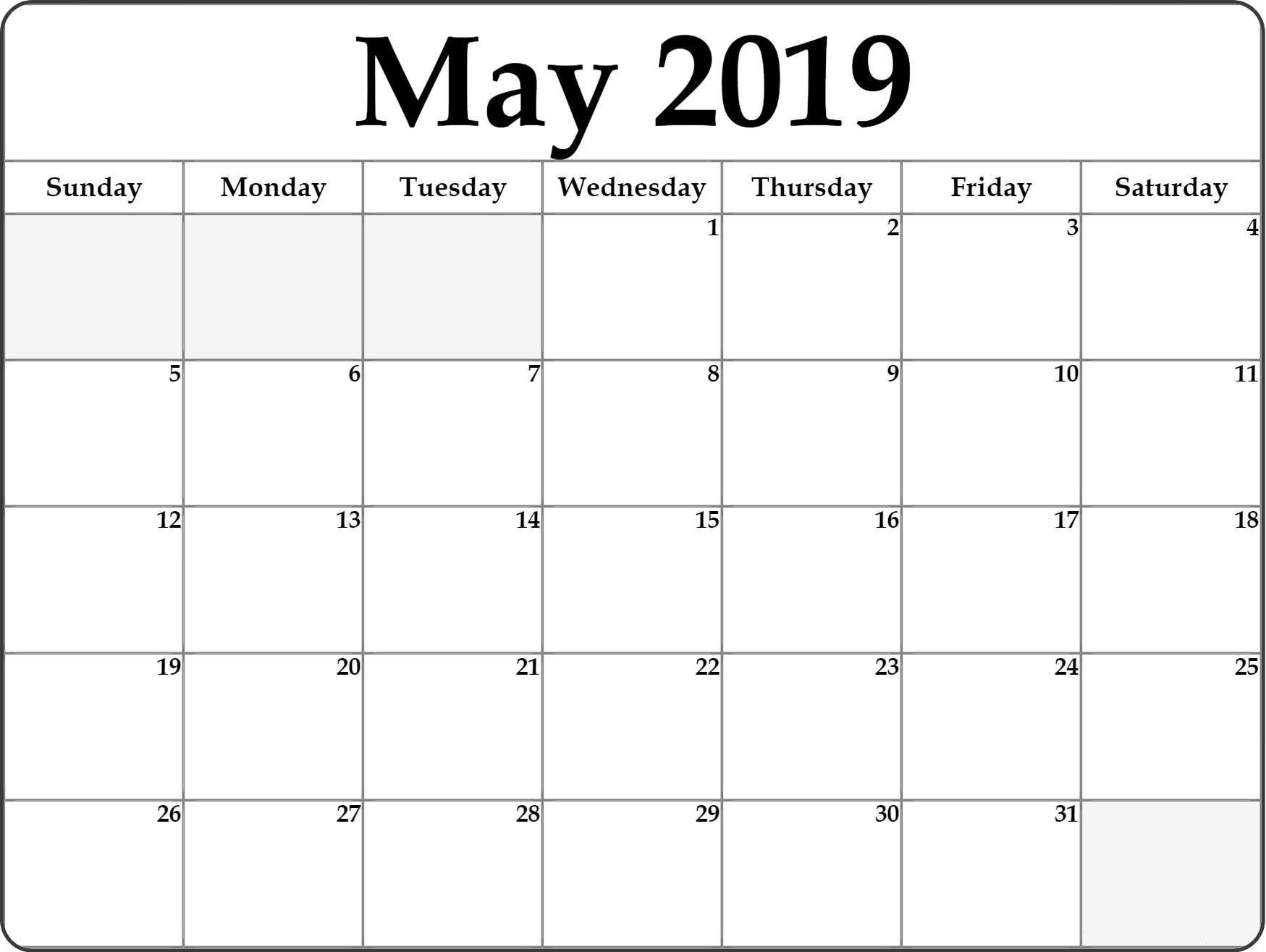 May 2019 Blank Calendar Pdf And Jpg Template - Free Printable