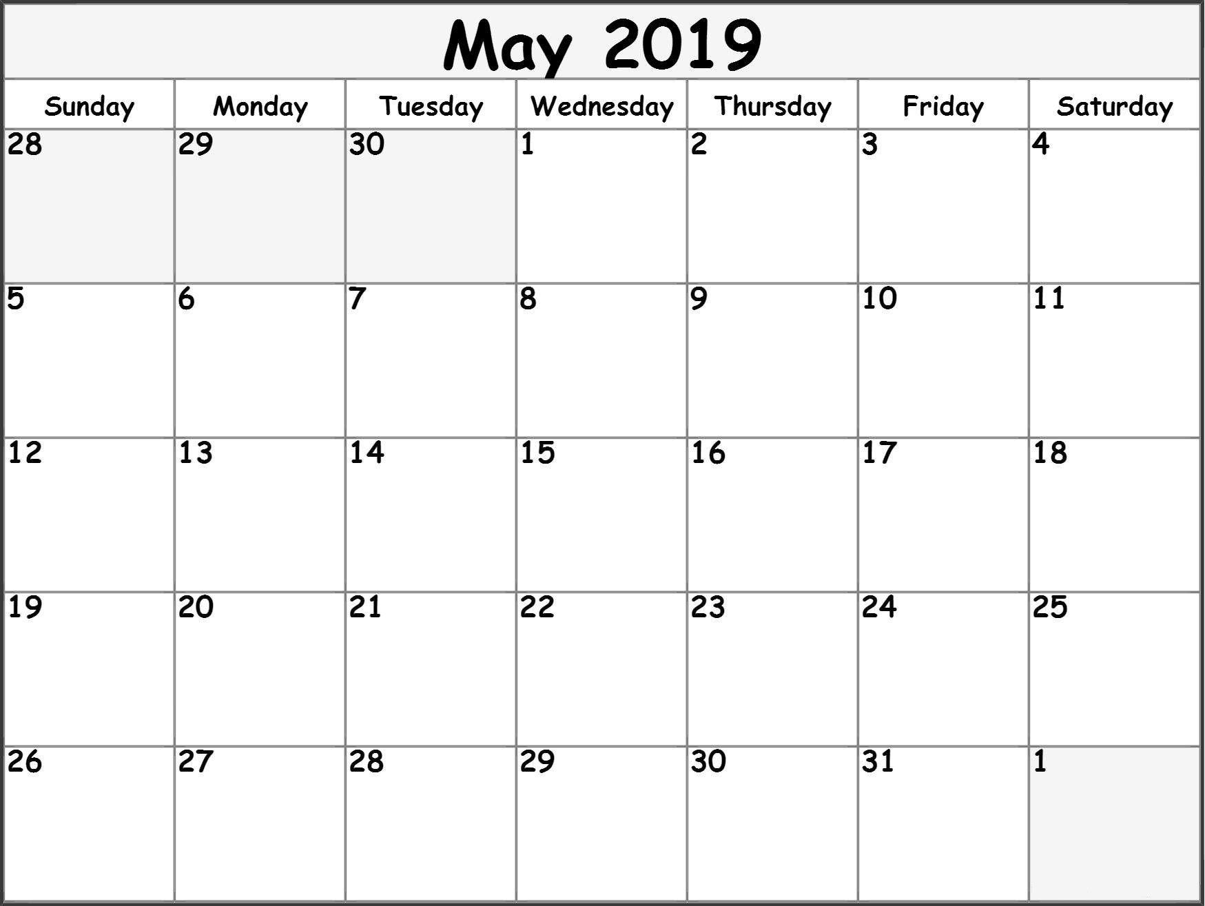 May 2019 Calendar Pdf - Printable Calendar 2019
