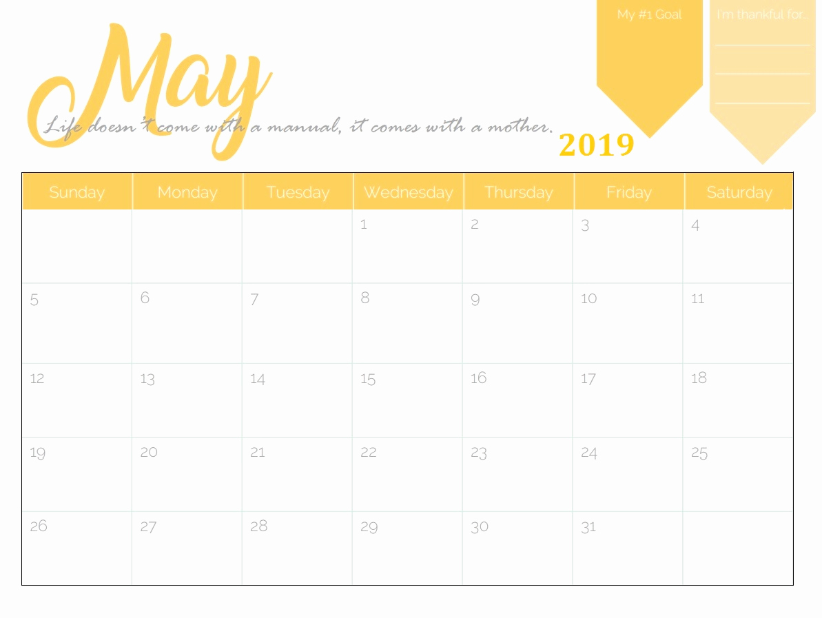 May 2019 Printable Wall Calendar - Free Printable Calendar, Blank